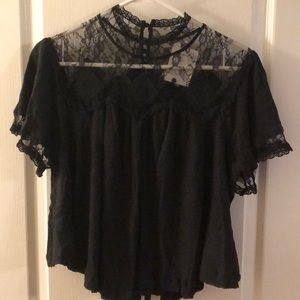 Free People Cape May Lace Black Size S